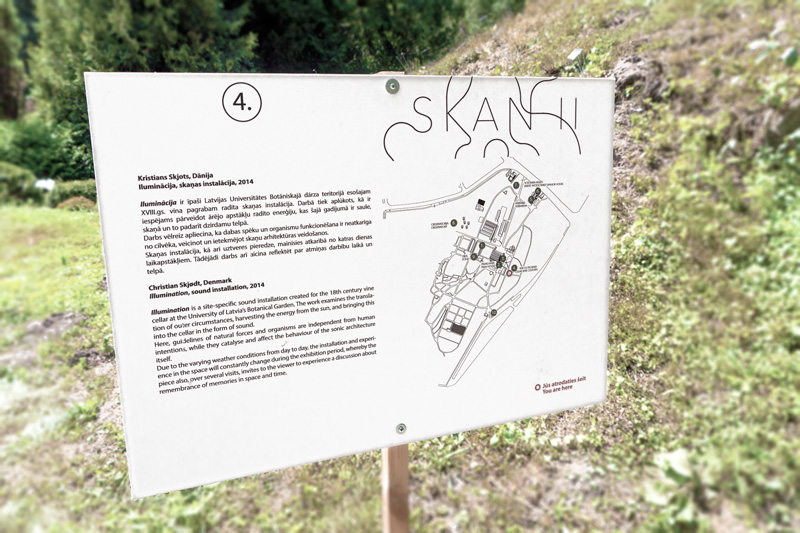 sign from the sound art exhibition SKAN II in Botanical Garden of Riga